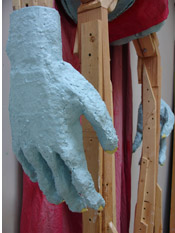 Beautiful Superman 2007 13' x 3 ' x 2' wood, yarn, canvas, latex, plaster bandages, card board, plexiglas, sculptamold
